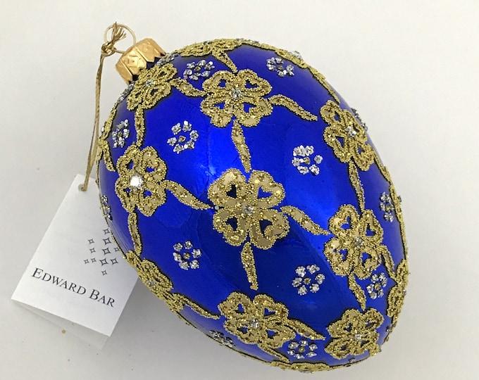 Sapphire Glossy Egg, Ribbons, Glass Ornament