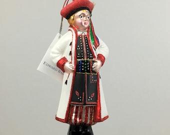 Krakow Boy, Krakowiak, Glass Christmas Ornament, H 6.75(in)
