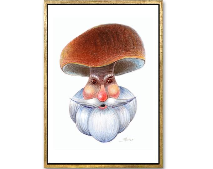 Drawing digital download, Portrait of Santa Claus, Mushroom