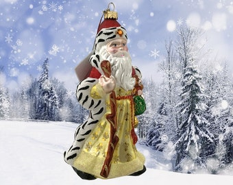 Santa Claus with a stick, Glass Christmas Ornament, H 7 (in)