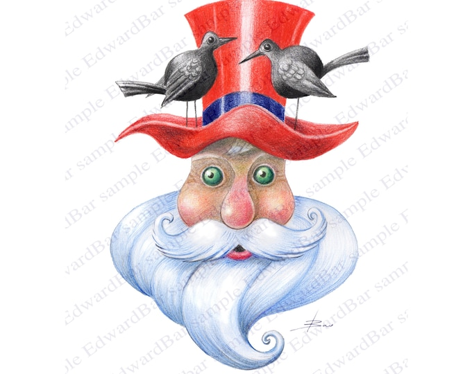 Drawing digital download, Portrait of Santa Claus,