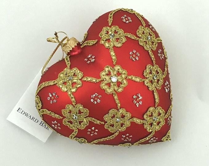 "Red Matt Heart, Ribbons, Glass Christmas Ornament, 4.75"""