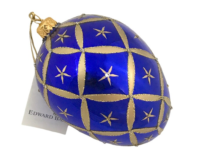 Sapphire Glossy Egg, Little Stars, Glass Christmas Ornaments, Swarovski Crystals, Handmade In Poland