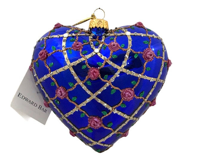 Sapphire Heart, Roses, Glass Christmas Ornament, H (in): 4.75