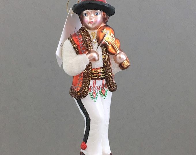 Zakopane Boy, Goral With Violin, Glass Christmas Ornament, H 6.75(in)