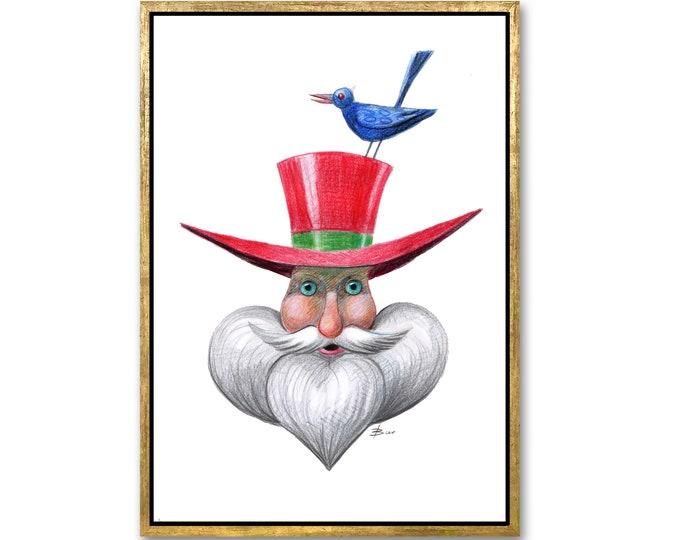 Drawing digital download, Portrait of Santa Claus