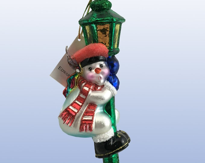 Snowman on a lantern, Glass Christmas Ornament, H 6 (in)