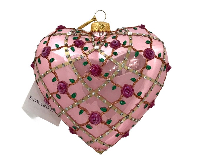 PinkPearl Heart, Ribbons, Glass Ornament, H(in): 4.75
