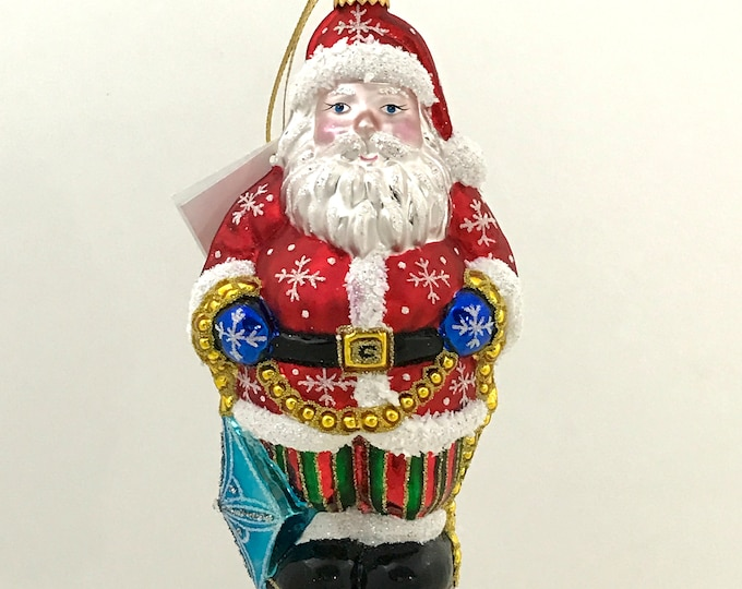 Santa Claus with a Kite, Glass Christmas Ornament, H 7 (in)