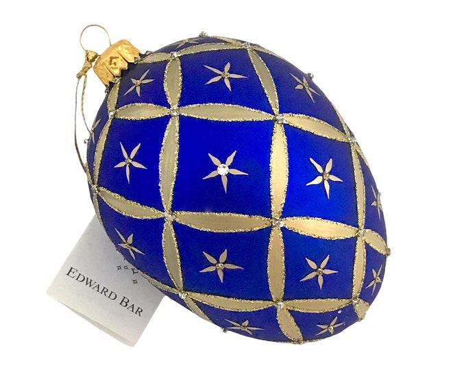 Sapphire Matt Egg, Little Stars, Glass Christmas Ornaments, Swarovski Crystals, Handmade In Poland