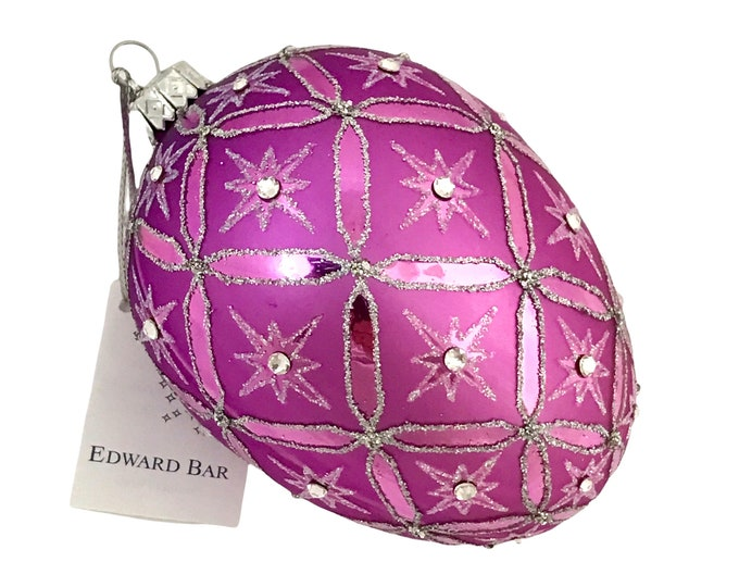 Shining Lilac Star Egg With 36 Swarovski Crystals, Glass Christmas Ornament, Faberge Style, Handmade Decorated, Edward Bar Ornaments