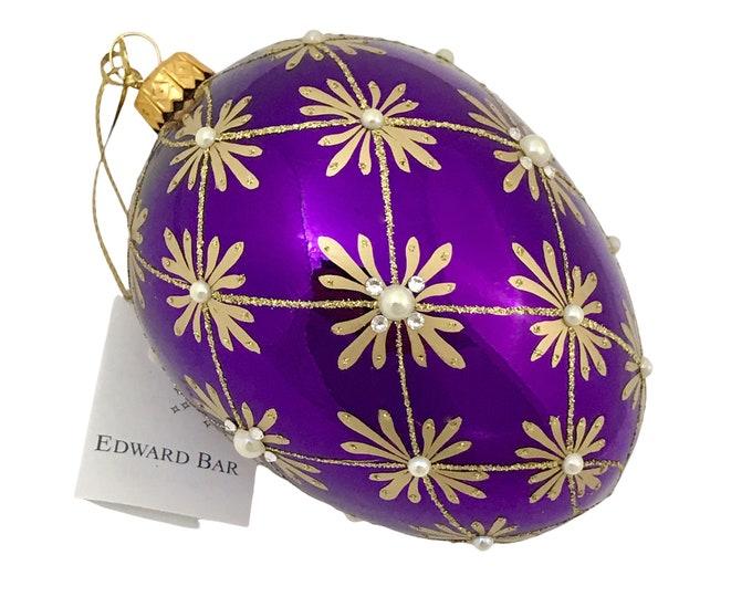 Purple Glossy Egg, Art Deco, 24 Swarovski Crystals & Pearls, Glass Christmas Ornament, Faberge Style, Handmade Decorated, Edward Bar