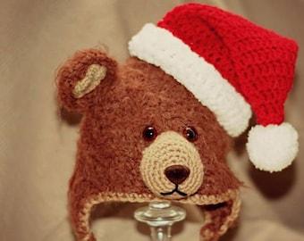 125a02f8daea Bonnet bebe, ourson, noel, crochet, animaux, pooh hat, baby hat, christmas  hat,cadeau, bonnet hiver, bonnet photo, picture hat, animals hat