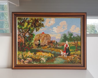 Linens & Textiles (pre-1930) Vintage Framed Wool Tapestry Old Farm Scene Cows Farm Animals