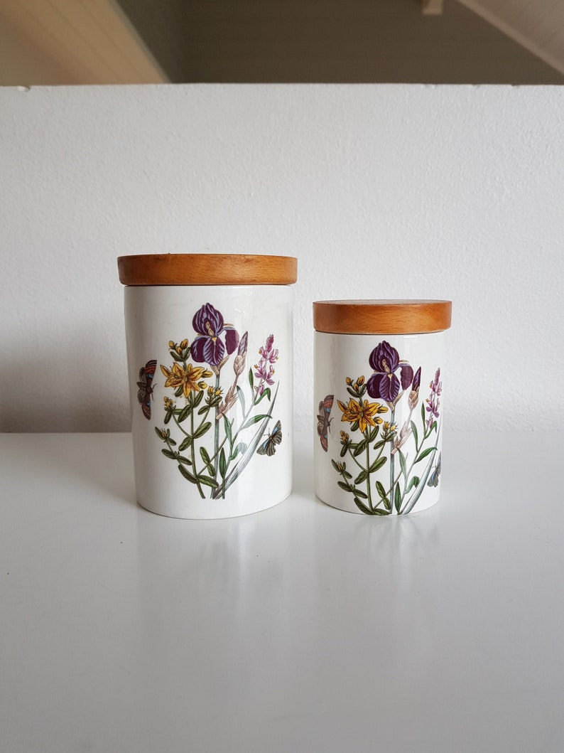 a73f2cb9c31f Set of 2 Portmeirion Pottery Aquilegia Kitchen Canisters | Etsy