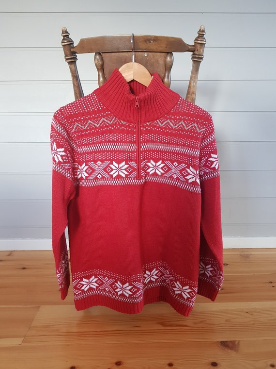 Norwegian Sweater, Zippered Neck Sweater, 100% Acr