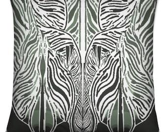Luxury Velvet Cushion with Feather Stuffing: African Design, African Print, Orisha, Yoruba, Camouflage Hunt, Osoosi