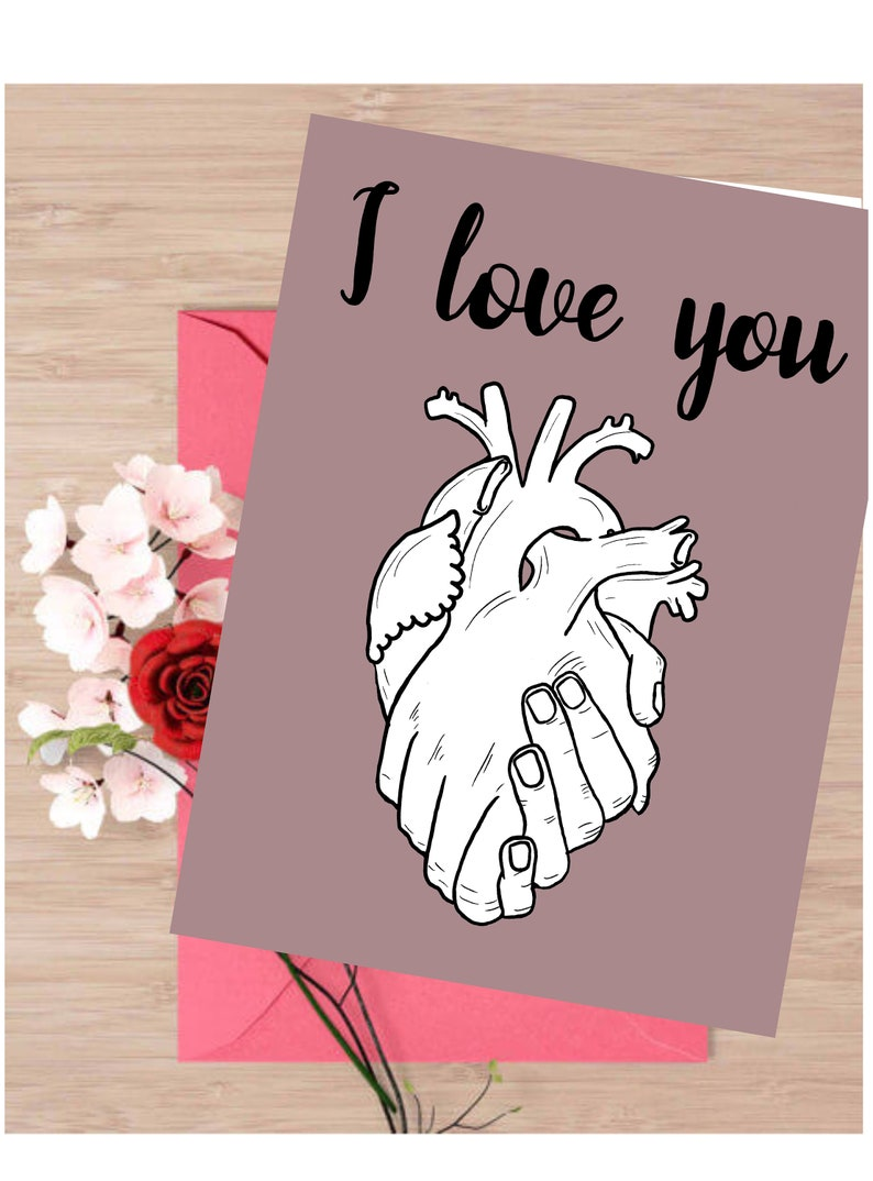 Love Card Nurse Gift Valentine/'s Day Card Anatomy Heart,I Love You Medical Gift Doctor Gift