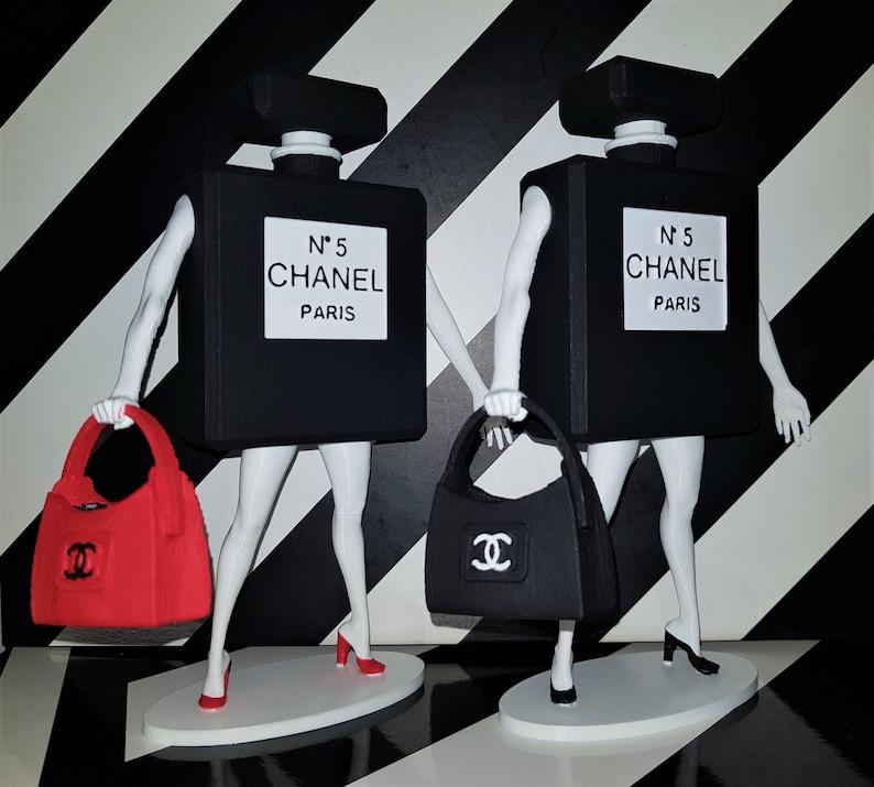 3e5138b41b2 Coco Chanel No 5 Perfume Bottle   Bag Art Sculpture Home Decor