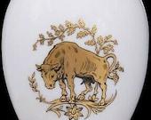 Chamart Limoges France Gold Taurus Zodiac White Porcelain Egg Trinket Box