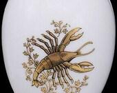 Chamart Limoges France Gold Cancer Zodiac White Porcelain Egg Trinket Box
