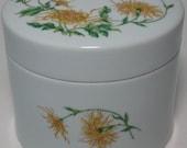 Chamart Limoges France Large White Porcelain Jar Trinket Box w Yellow Flowers