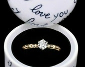 Chamart Limoges France Porcelain quot I Love You quot Engagement Ring Case Jewelry Box