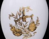 Chamart Limoges France Gold Piece Libra Zodiac White Porcelain Egg Trinket Box