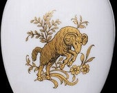 Chamart Limoges France Gold Piece Aries Zodiac White Porcelain Egg Trinket Box