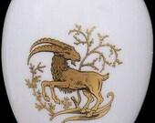 Chamart Limoges France Gold Capricorn Zodiac White Porcelain Egg Trinket Box