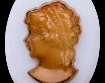 10 Glass Oval Brown Glass 3D Woman Cameo Cabochon 10 x 8 mm Vintage