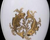 Chamart Limoges France Gold Pieces Zodiac White Porcelain Egg Trinket Box