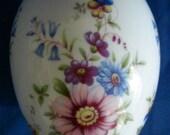 Porcelain Chamart Limoges France Colorful Floral Egg Jewelry Trinket Box