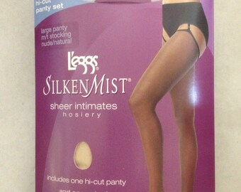 195ec1eea Leggs Silken Mist Hi Cut Panty Set Large Panty M T Stocking Nude Natural