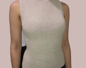 e1071ddbbffc63 Beige Womans Turtleneck Top Sleeveless Size Small 100% Cotton