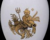 Chamart Limoges France Aquarius Zodiac White Porcelain Egg Trinket Box