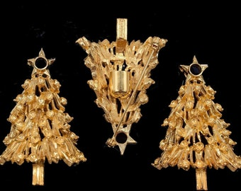 4f308e32d55fa Vintage Gold Tone Christmas Tree W  Star Holiday Pin Brooch Finding  Unfinished