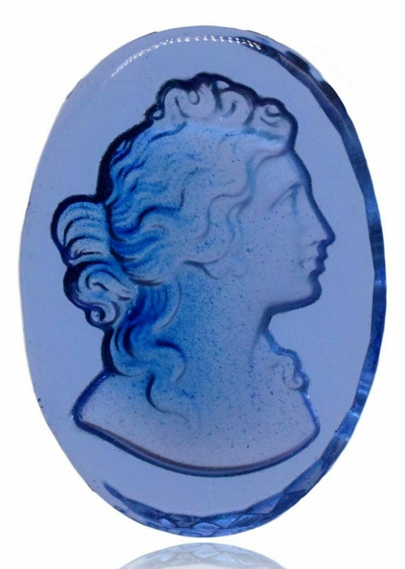 10 Glass Embossed Blue Transparent Woman Cabochon Cameo 25 x 18 mm Vintage