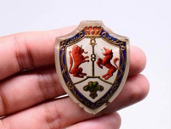 10 Glass Royal Coat Of Arms Lion & Unicorn Shield