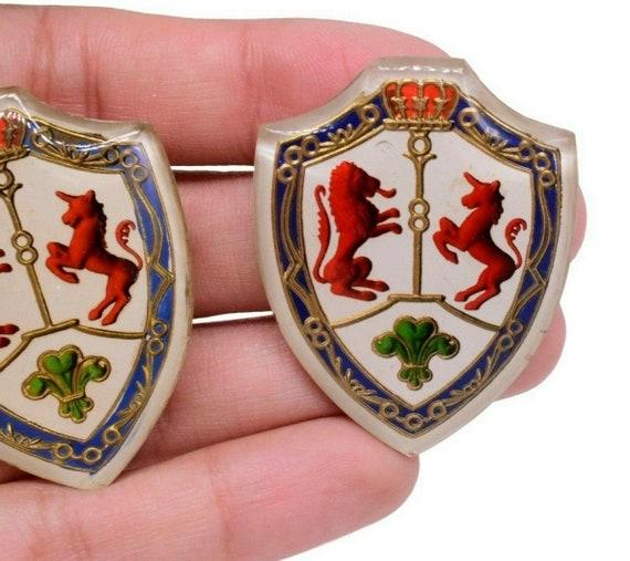 10 Glass Royal Coat Of Arms Lion&Unicorn Shield He