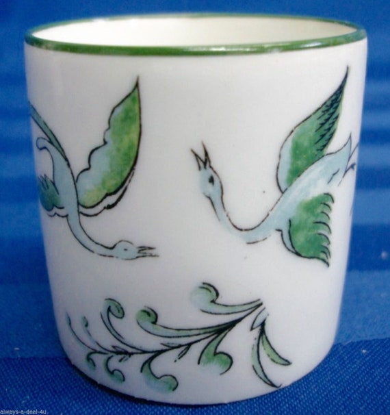 Vignaud Limoges France Porcelain Green Mini Cup With Flowers /& Birds A