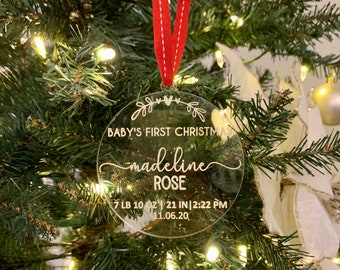 Baby's First Christmas Ornament| Baby Ornament| Personalized Ornament| New Baby Gift| Christmas Ornament