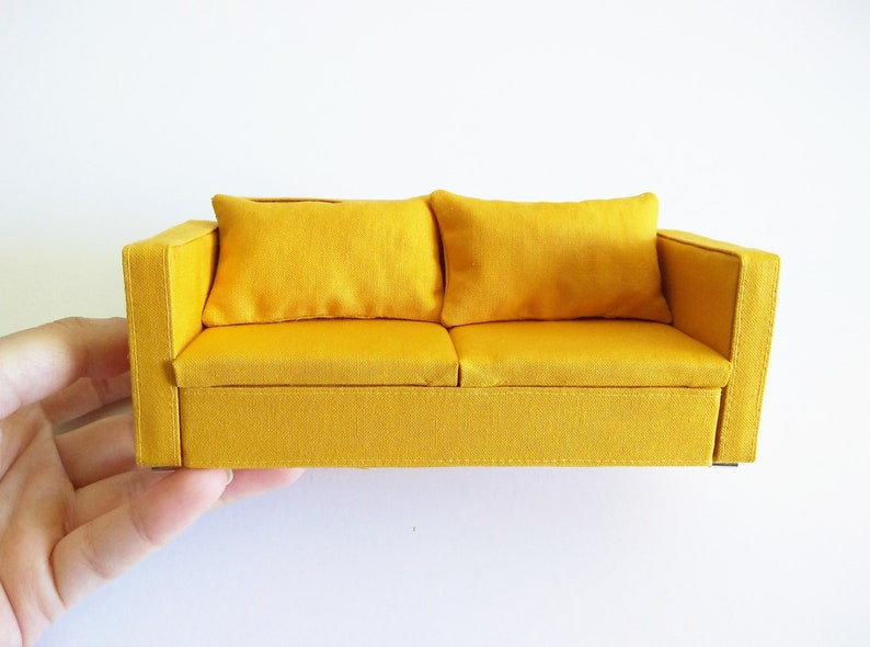 Miniature yellow couch, made to order, 1:12th scale, modern miniature sofa,  dollhouse furniture