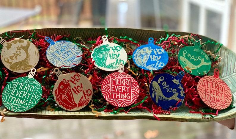 Holiday hand printed ornaments image 0