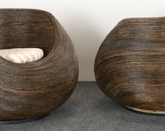 Pair of Gabriella Crespi Style Rattan Chairs, 20th Century