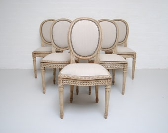 Set Of 6 French Dining Chairs With Original Paint Finish