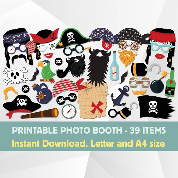 graphic relating to Printable Pirate Hat titled Pirate Photograph Booth Props Printable, Pirate Hat Printable, Pirate Get together Photobooth, Pirate Youngsters Birthday Props, Pirate Map, Pirate Flag