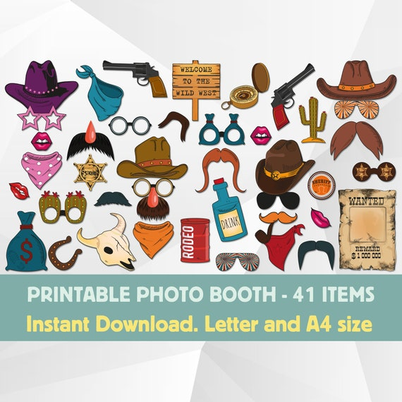 Cowboy Photo Booth Props Printable Wild West Themed Photo Etsy