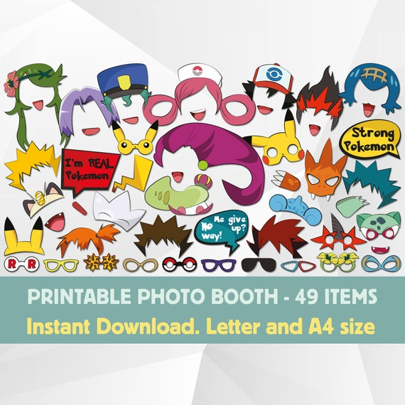 Pokemon Inspirated Photo Booth Props Printable Pokemon Birthday Party Decorations Pokemon Go Printable Pokemon Masks