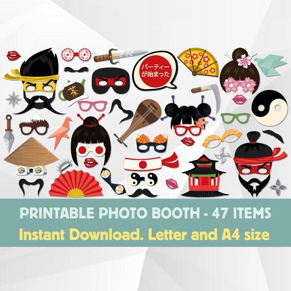 Japan Geisha Samurai Photo Booth Props Japanese Pop Culture Etsy